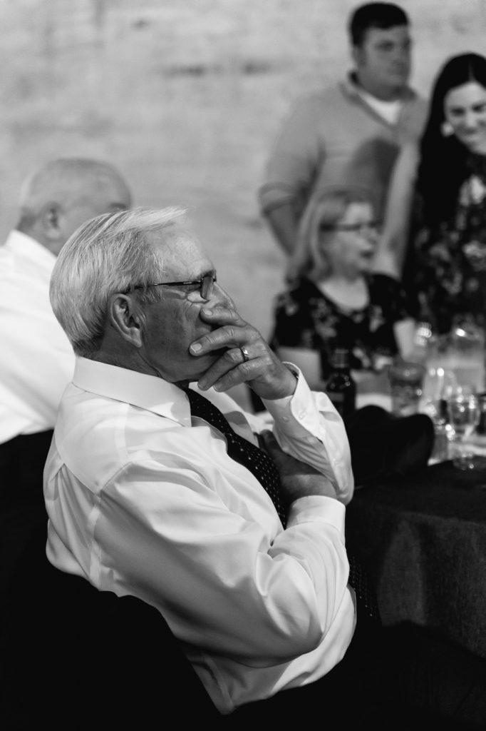austin wedding photographer, grandpa candid, studio k10, black and white